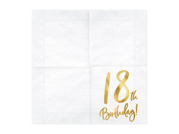 serwetki urodzinowe, białe serwetki ze złotą cyfrą 18, serwetki na 18stkę, dekoracje na 18stkę, dekoracje na 18 urodziny, serwetki na 18 urodziny,