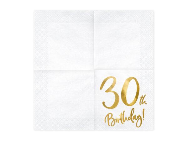 serwetki urodzinowe, białe serwetki ze złotym napisem 30th birthday, dekoracje na 30 urodziny, dekoracje na 30stkę, serwetki na 30 urodziny, serwetki na 30stkę,