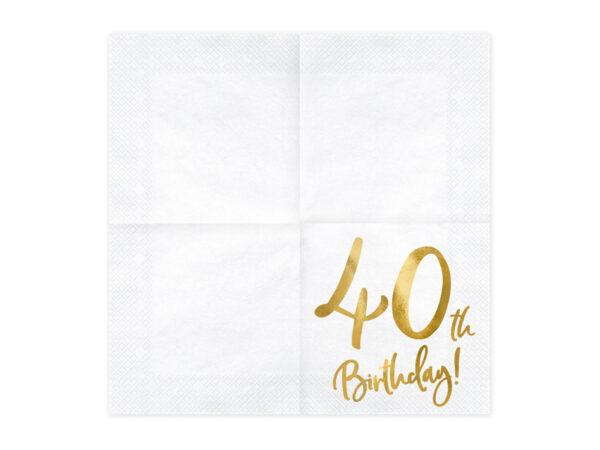 serwetki urodzinowe, białe serwetki ze złotym napisem 40th birthday, dekoracje na 40 urodziny, dekoracje na 40stkę, serwetki na 40 urodziny, serwetki na 40stkę,