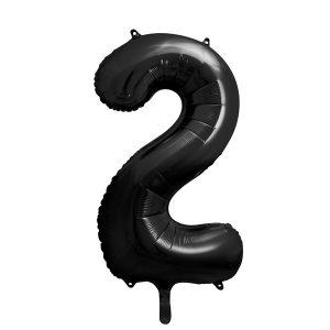 balon cyfra 2 czarna, 86 cm, balon helowy, balon z helem, dekoracje baonowe, balony urodzinowe, czarne balony cyfry