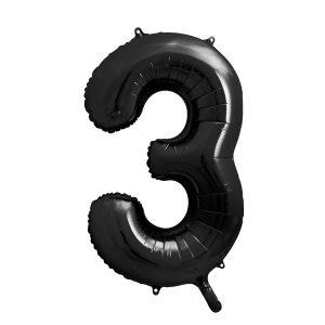 balon cyfra 3 czarna, 86 cm, balon helowy, balon z helem, dekoracje baonowe, balony urodzinowe, czarne balony cyfry