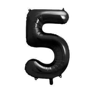 balon cyfra 5 czarna, 86 cm, balon helowy, balon z helem, dekoracje baonowe, balony urodzinowe, czarne balony cyfry
