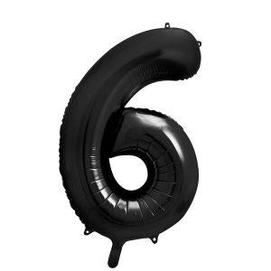 balon cyfra 6 czarna, 86 cm, balon helowy, balon z helem, dekoracje baonowe, balony urodzinowe, czarne balony cyfry