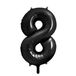 balon cyfra 8 czarna, 86 cm, balon helowy, balon z helem, dekoracje baonowe, balony urodzinowe, czarne balony cyfry