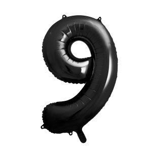 balon cyfra 9 czarna, 86 cm, balon helowy, balon z helem, dekoracje baonowe, balony urodzinowe, czarne balony cyfry