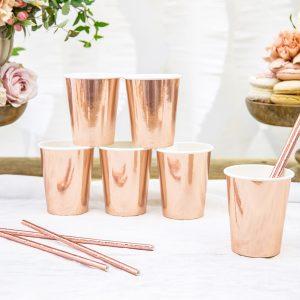 kubeczki na wesele, kubeczki do napojów golden rose, kubeczki imprezowe złoty róż, kubeczki papierowe do napojów różowe złoto, kubeczki do candy bar