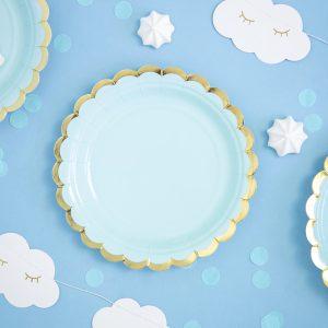 niebieskie papierowe talerzyki ze złotym brzegiem, talerzyki do candy bar, niebieskie talerzyki urodzinowe, niebieskie talerzyki na chrzciny