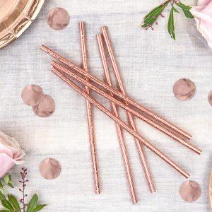 słomki papierowe różowe złoto, słomki do napojów różowe złoto, rurki do napojówróżowe złoto, dekoracje candy bar różowe złoto