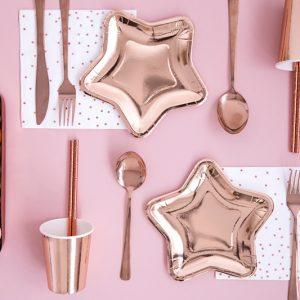 talerzyki do candy bar, talerzyki urodzinowe gwiazdki różowe złoto, talerzyki papierowe gwiazdki golden rose,