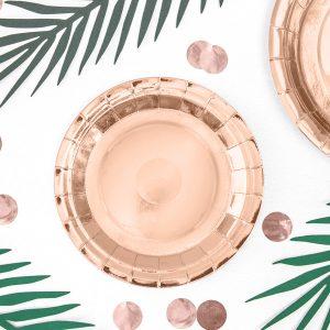 talerzyki urodzinowe okrągłe różowe złoto, talerzyki okrągłe różowe złoto, talerzyki papierowe do candy bar golden rose, talerzyki okrągłe na 18,