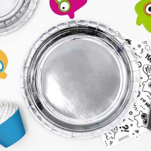 talerzyki urodzinowe okrągłe srebrne, talerzyki okrągłe na wesele, talerzyki papierowe do candy bar srebrne na 18, talerzyki okrągłe srebrne, , srebrne dodatki candy bar