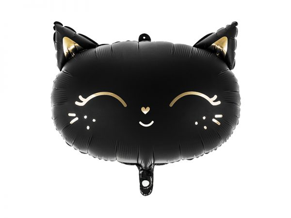 balon foliowy czarny kotek, balon kotek na urodziny, balon kotek na imprezę urodzinową, balon helowy kotek, balon na hel kotek