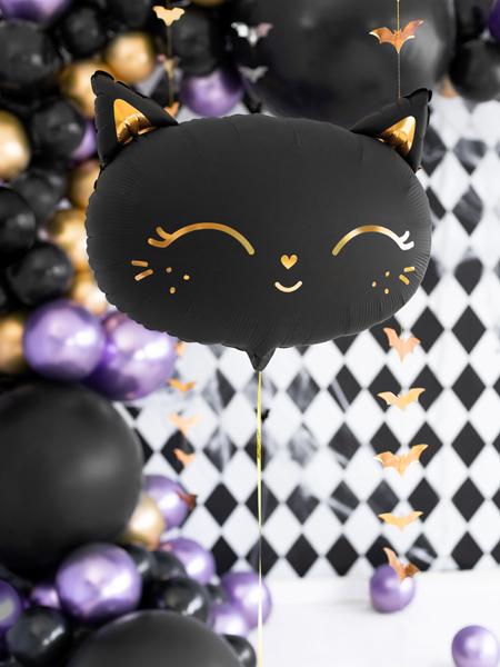 balon kotek na imprezę urodzinową, balon kotek na urodziny, balon foliowy czarny kotek, balon helowy kotek, balon na hel kotek