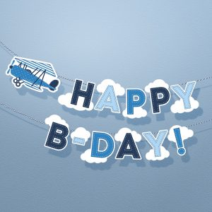 baner happy b-day, baner urodzinowy samolocik, dekoracje z samolotem, baner urodzinowy na Roczek, baner urodzinowy z serii samolocik