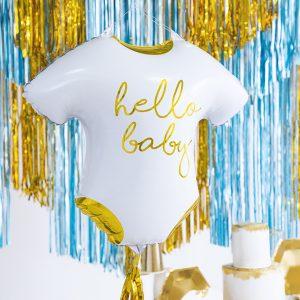 biało-złoty balon na Chrzciny, balon foliowy śpioszki hello baby, biało-złoty balon na baby shower,