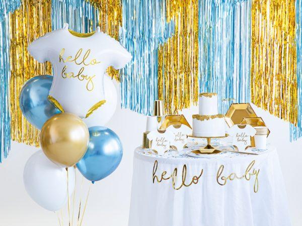 biało-złoty balon na baby shower, biało-złoty balon na Chrzciny, balon foliowy śpioszki hello baby,