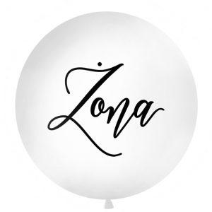biały balon z czarnym napisem żona, balon gigant z napisem żona