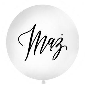 biały balon z czarnym napisem mąż, balon gigant z napisem mąż