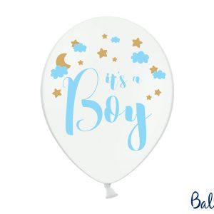 biały balon z niebieskim napisem It's a Boy, balony na baby shower dla chłopca, dekoracje na baby shower, niebieskie dekoracje na baby shower