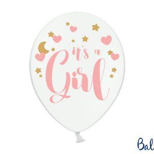 biały balon z różowym napisem It's a Girl, balony na baby shower dla dziewczynki, dekoracje na baby shower, różowe dekoracje na baby shower