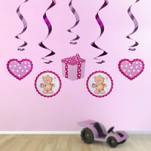 dekoracje różowe na roczek, dekoracje wiszace świderki dla dziewczynki, dekoracje różowe misie, wiszące