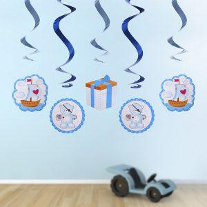 dekoracje wiszace świderki dla chłopca, dekoracje niebieskie na roczek, dekoracje niebieskie misie, wiszące