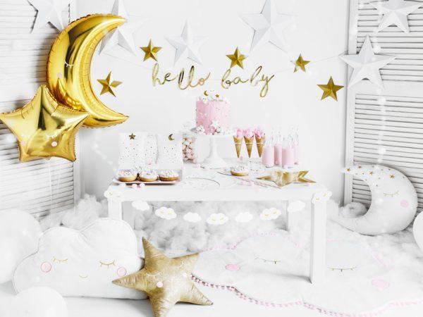 girlanda biało-złote chmurki, girlanda chmurki, dekoracje na chrzest, girlanda urodzinowa chmurki, biało-złote dekoracje na komunię, dekoacje na baby shower,