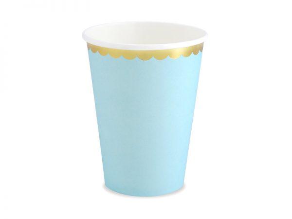 kubeczki niebieskie ze złotym brzegiem, imprezowe kubeczki, niebiekie dekoracje imprezowe