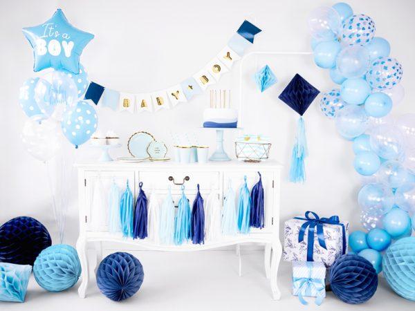 kubeczki niebieskie ze złotym brzegiem, niebiekie dekoracje imprezowe, imprezowe kubeczki, niebieskie kubeczki na baby shower