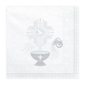 serwetki z motywem chrztu, serwetki na chrzest św., biało-srebrne dekoracje na chrzest św.,