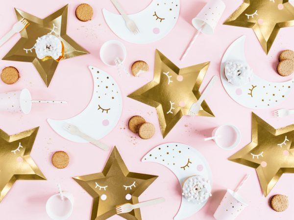 talerzyki imprezowe złote gwiazdki, talerzyki złote gwiazdki z nadrukiem buźki, talerzyki papierowe złote gwiazdki,