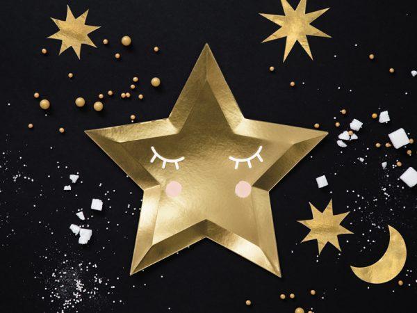 talerzyki złote gwiazdki z nadrukiem buźki, talerzyki imprezowe złote gwiazdki, talerzyki papierowe złote gwiazdki,