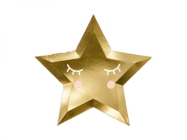 talerzyki złote gwiazdki z nadrukiem buźki, talerzyki imprezowe złote gwiazdki, talerzyki urodzinowe złote gwiazdki,