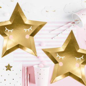 talerzyki złote gwiazdki z nadrukiem buźki, talerzyki papierowe złote gwiazdki, talerzyki imprezowe złote gwiazdki