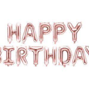 balonowy napis Happy Birthday różowe złoto