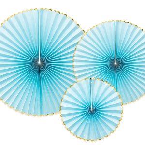 rozety dekoracyjne błękitne ze złotym brzegiem, dekoracje urodzinowe, błękitne dekoracje na Roczek, błękitne dekoracje na komunię, błękitne dekoracje na chrzest