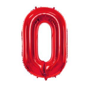 czerwony balon cyfra 0