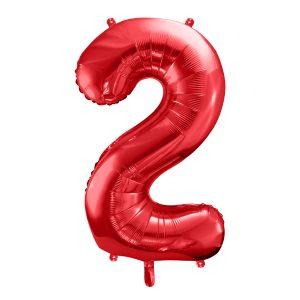 czerwony balon cyferka 2