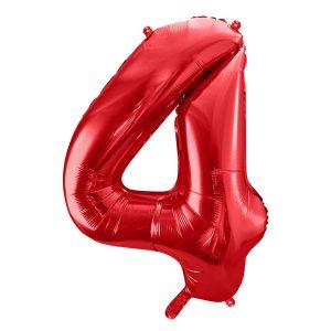 czerwony balon cyfra 4