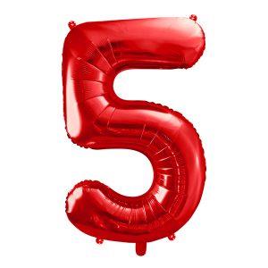 czerwony balon cyfra 5