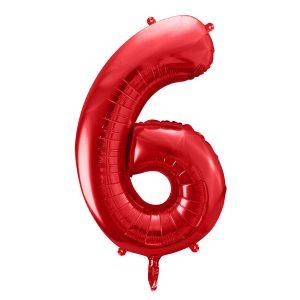 czerwony balon cyfra 6