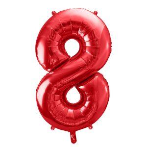 czerwony balon cyfra 8