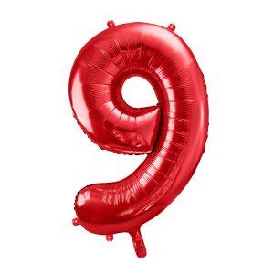 czerwony balon cyfra 9