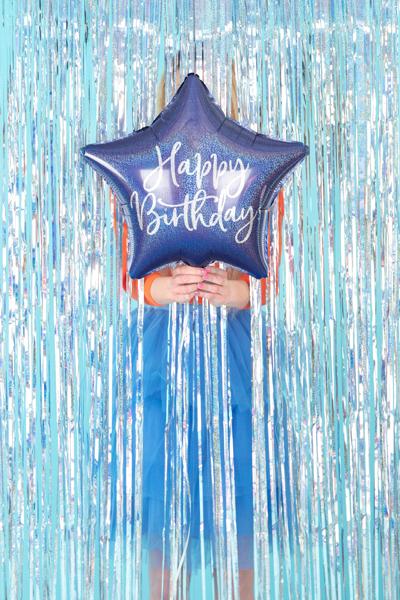 """balon gwiazdka granatowa z napisem """"happy birthday"""", balon foliowy gwiazdka granat, dekoracje imprezowe granatowe"""