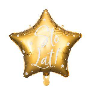 balon foliowy gwiazdka, złota z napisem sto lat, złote dekoracje