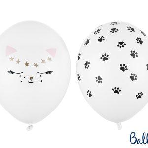 balon lateksowy kotek, balon z nadrukiem kotka, balon 30 cm, balon gumowy z nadrukiem kotka, balony urodzinowe