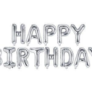 balonowy napis Happy Birthday srebrny, napis z balonów Happy Birthday srebrny