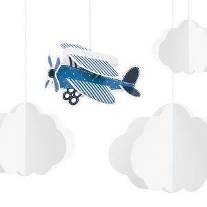 dekoracje wiszące samolocik, wiszące chmurki i samolot, papierowe dekoracje urodzinowe, dekoracje urodzinowe z samolotem