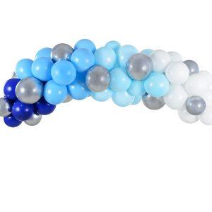 zestaw do zrobienia girlandy balonowej, niebiesko-biało-srebrna girlanda z balonów, dekoracje balonowe na imprezę